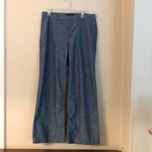 Banana Republic linen blend wide leg pants blue 12